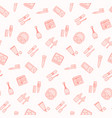 seamless pattern with flat cosmetics icon vector image