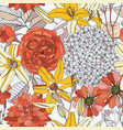 seamless pattern with summer flowers on white vector image