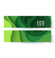 set two eco abstract green paper cut banners vector image