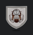 shield with armored hog head isolated vector image