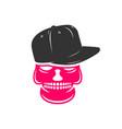 skull logo design wearing a hat vector image