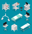 surgery icons set isometric view vector image vector image