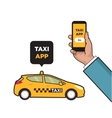 Taxi service app Hand with smartphone and vector image vector image