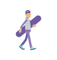 teen boy walking with snowboard boy doing sport vector image vector image