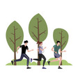 the company athletes jogging in park in vector image vector image