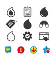 Water drop icons tear or oil symbols