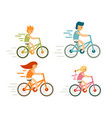set of bicycle rider in flat style modern family vector image