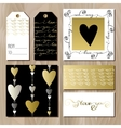 Set of cards with gold valentines day design vector image