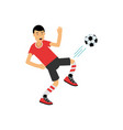 active teen boy kicking a soccer ball boy doing vector image vector image
