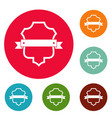 badge guardian icons circle set vector image vector image
