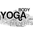 benefits of yoga text word cloud concept vector image vector image
