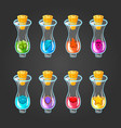 big set of flasks with different poisons vector image vector image