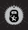 Black kettlebell on grey background with star vector image vector image