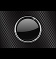 black round button with chrome frame on perforated vector image vector image