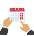 calendar in hand vector image vector image
