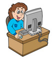 cartoon boy working with computer vector image