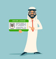 cartoon character arab car driver license vector image vector image
