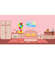 children bedroom interior with furniture birthday vector image vector image