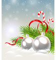 Christmas background with silver decorations vector image vector image
