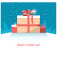 christmas present gifts on winter snow landscape vector image