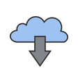 cloud download line filled icon vector image vector image