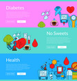 colored diabetes icons web banner templates vector image vector image