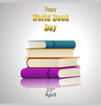 colorful book for world book day vector image vector image