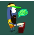 Cool Monster sells pizza in a pizzeria vector image