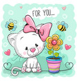 cute cartoon kitten with flower vector image vector image