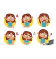 cute girl set vector image vector image