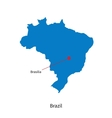 Detailed map of Brazil and capital city Brasilia vector image