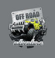 extreme yellow off road vehicle suv vector image