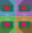 Flags Bangladesh Set of colors flat design and vector image