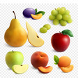 fruits realistic transparent set vector image vector image