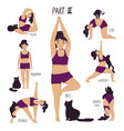 funny girl doing yoga with a cat vector image