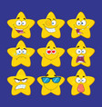 funny yellow star character collection - 1 vector image vector image