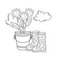 gardener boots rubber with flowers garden vector image