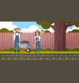 gardener man with wheelbarrow earth woman vector image vector image