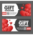 Gift vouchers with colored hearts Great for vector image