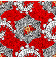 gold red floral ornament in baroque style antique vector image