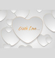 grey silver hearts with golden luxury outlines vector image