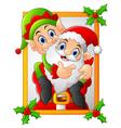 happy santa hold elf cartoon vector image