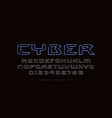 hollow extended sans serif font in cyber style vector image vector image