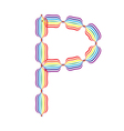 Letter P made in rainbow colors vector image vector image