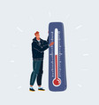 man froze and thermometer showing cold on white vector image vector image