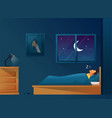 man sleeps at night in bed room with a window at vector image