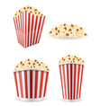 popcorn in striped cardboard package stock vector image vector image