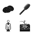potatoes comb and other web icon in black style vector image vector image