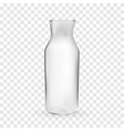 realistic 3d model of glass bottle on transparent vector image vector image