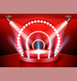 red award ceremony stage podium with spotlights vector image